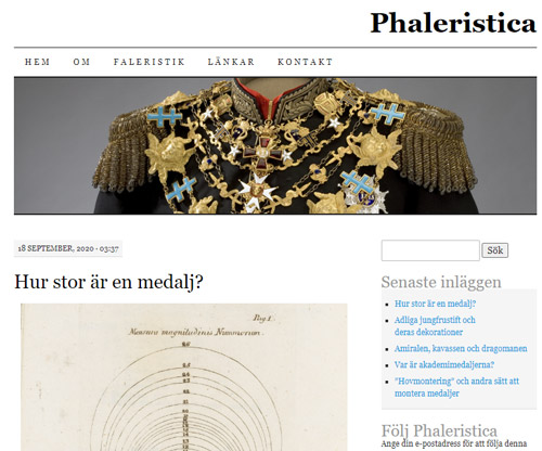 Phaleristica - a blog about Swedish decorations